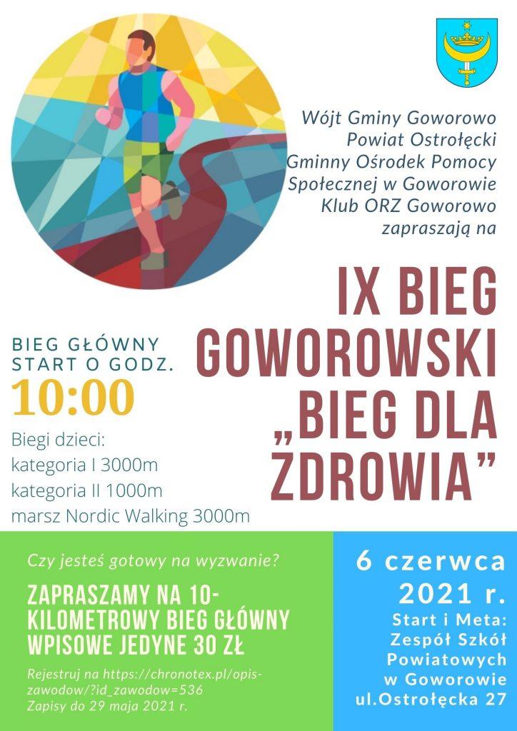 Plakat IX Bieg Goworowski Bieg dla zdrowia